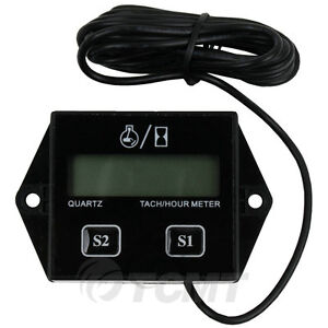 Digital Tach Hour Meter Tachometer Gauge For 2 or 4 stroke Gas Engines ATV UTV