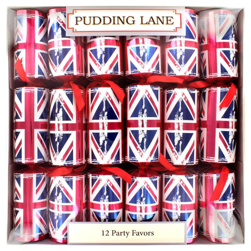 """Pudding Lane Cracker 12 X 12.5"""" Retro Union Jack"""
