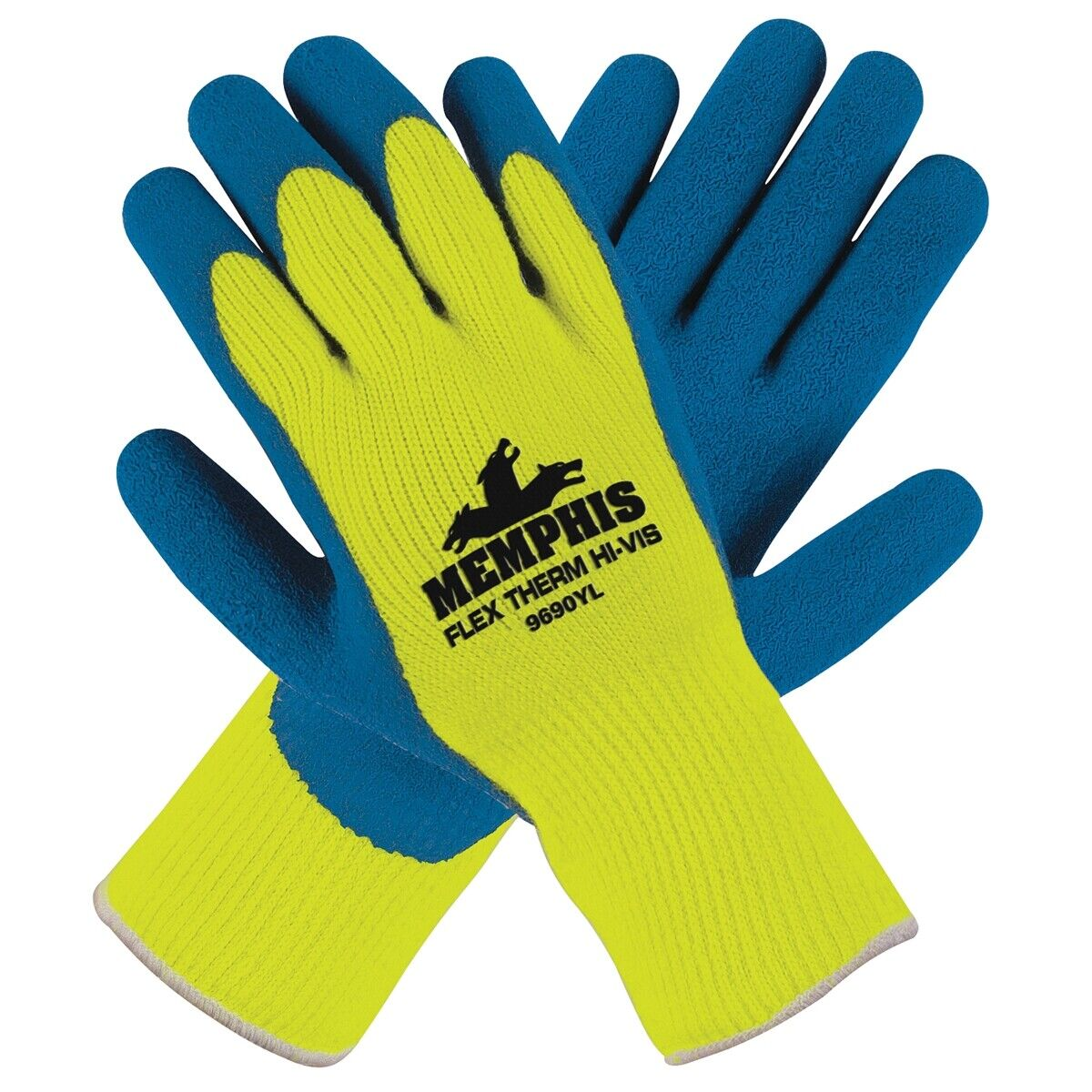 Memphis 9690Y Flex-Therm Gloves w/Latex Dipped Palm &Fingertips Blue/Yellow M-2X Business & Industrial