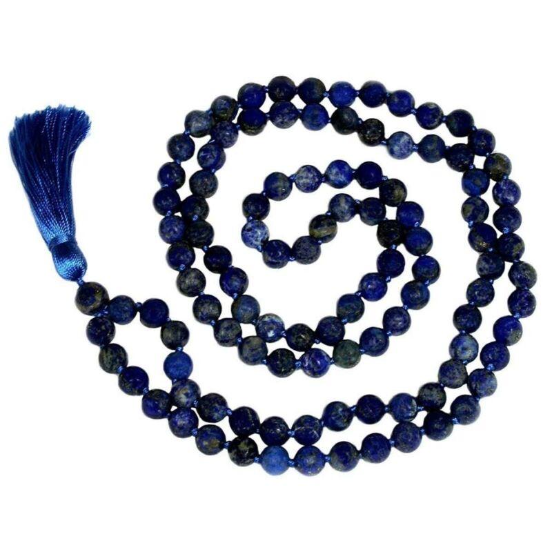 Krishna Culture LLJB Lapiz Lazuli Japa Mala 108 Beads 8 mm