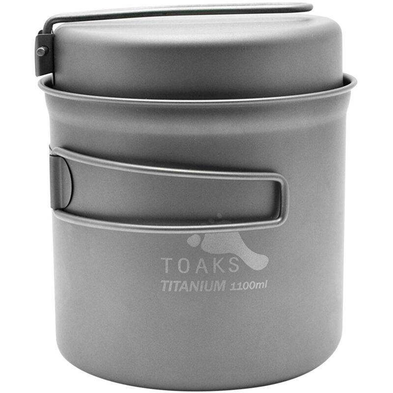 TOAKS Titanium Outdoor Camping Cook Pot with Pan and Foldable Handles - 1100ml