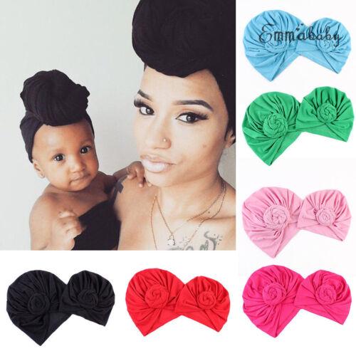 2Pcs Mom Mother Baby Child Warm Twist Knot Turban Cap Kids B