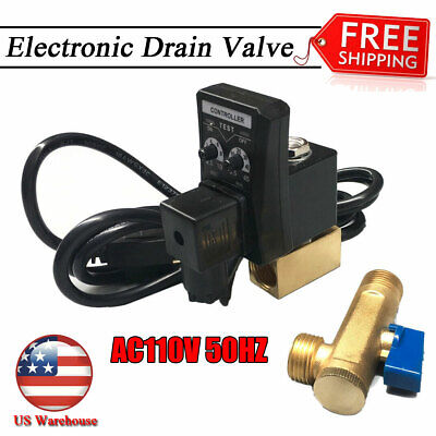 Electronic Timed 2 Way Air Compressor Gas Tank Auto Drain Valve 110v 12cable