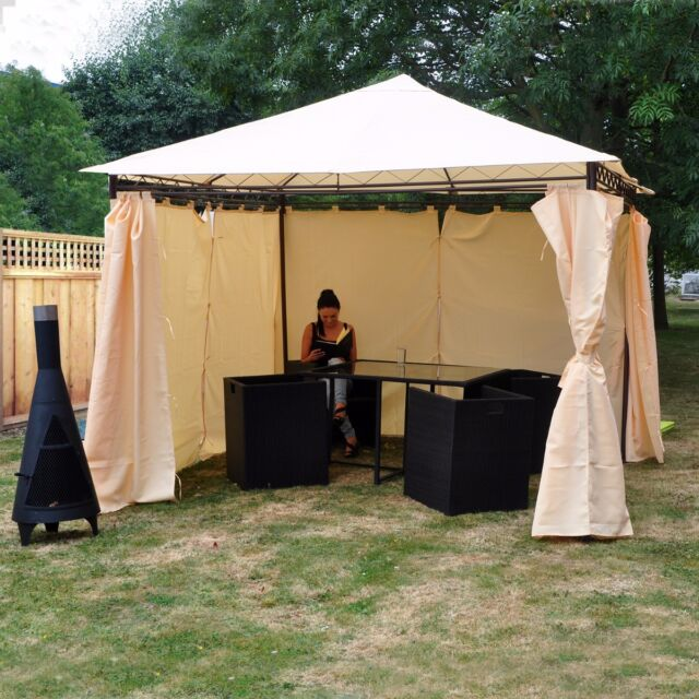 HEAVY DUTY OUTDOOR GARDEN GAZEBO PARTY TENT WEDDING MARQUEE AWNING SIDE CURTAINS
