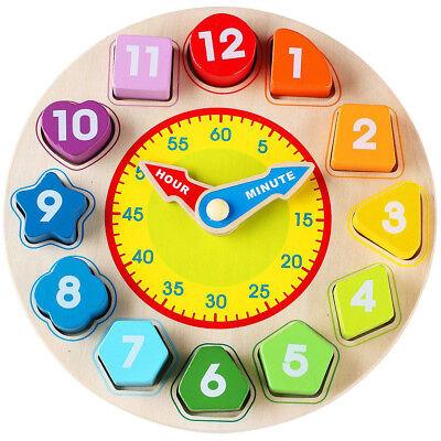 Wooden Blocks Digital Geometry Clock Toys DIY Beads Kids Educational Toys Gift - Diy Wooden Blocks