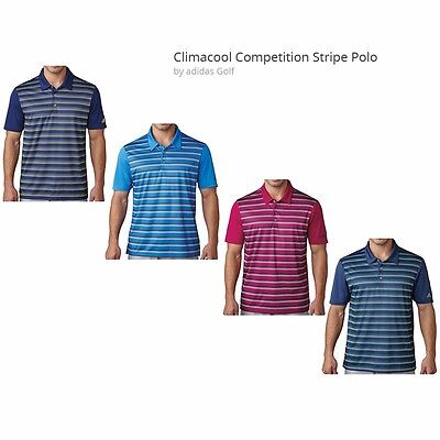 Adidas ClimaCool Competition Stripe Polo Mens Golf Shirt Pick One Climacool Golf Shirts