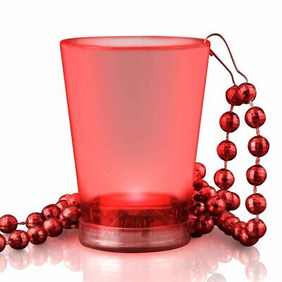 Light Up Red Shot Glass on Red Beaded - Light Up Shot Glass Necklace