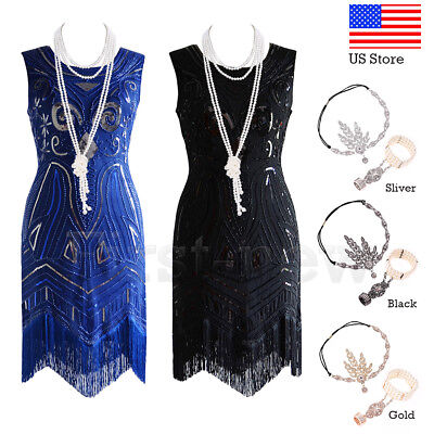 Vintage 1920s Flapper Dress Great Gatsby Themed Party Charleston Fringed Costume - 20s Themed Party