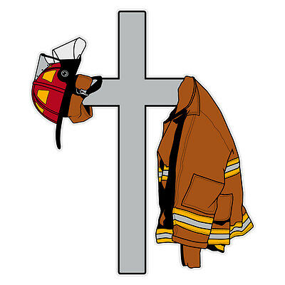 Cross with Firefighter's Coat and Helmet Reflective Window Decal Sticker