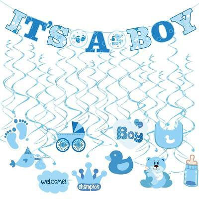 Baby Shower Decorations Its A Boy Banner Swirl Hanging Blue Theme Newborn 30