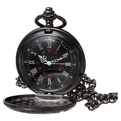 Vintage Steampunk Black Roman Numerals Necklace Quartz Pendant Pocket Watch E8