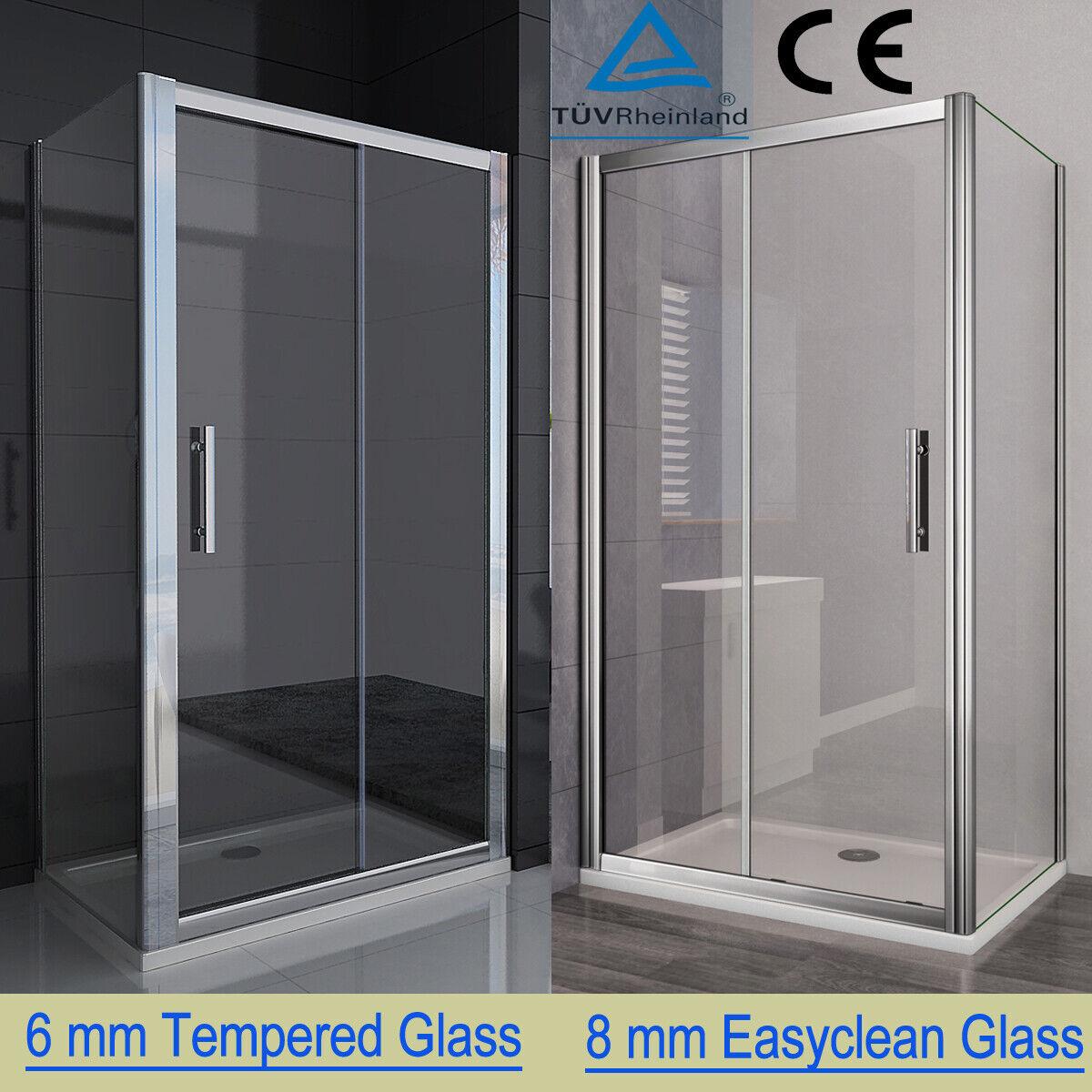 6mm Safety Clear Glass Sliding Shower Door Durovin Bathrooms L Shape Rectangular Framed Shower Enclosure 900 x 700mm