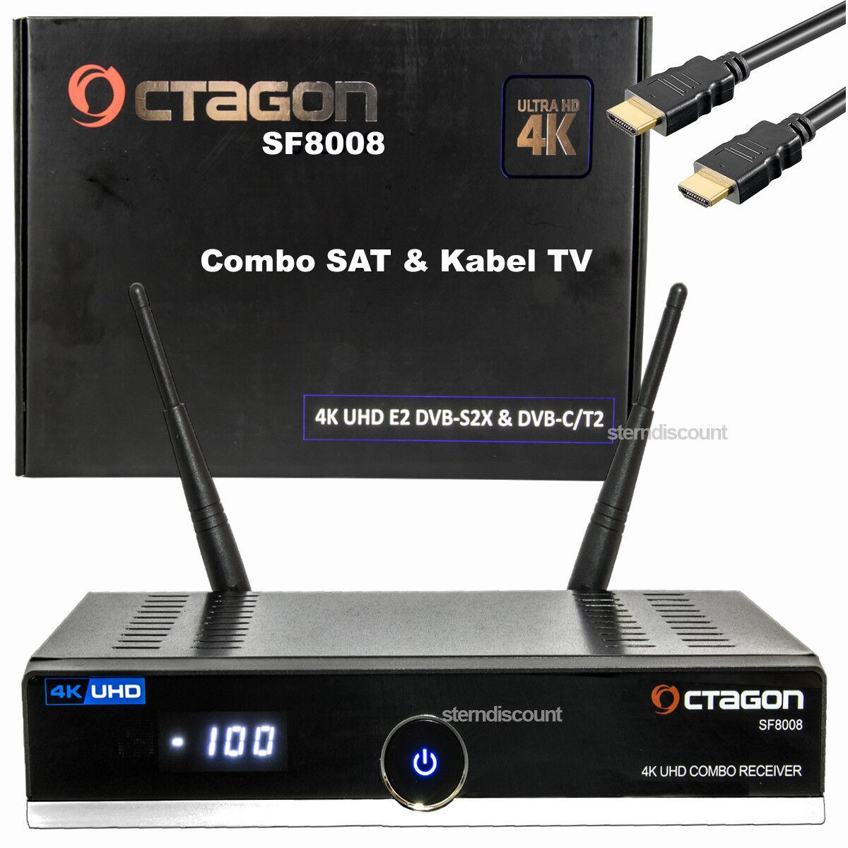 OCTAGON SF8008 4K Receiver Combo DVB-S2X + DVB-C/T2 SAT + Kabel-TV WLAN USB 3.0