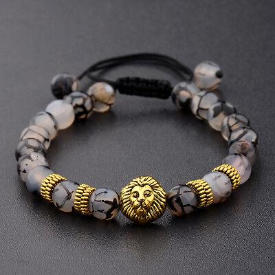 Charm Men's Lion Head Natural Stone Beaded Braided Macrame Adjustable Bracelets