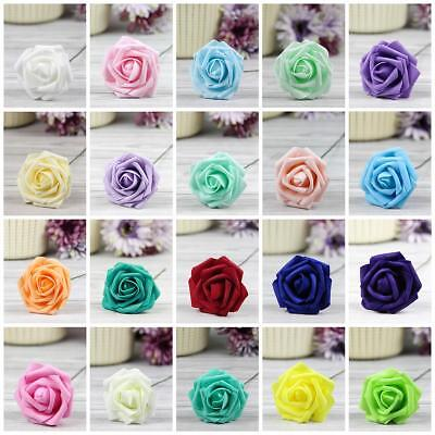 Foam Flowers (5X 50X Colourfast Foam Roses Artificial Flowers Party Wedding Bouquet Home)