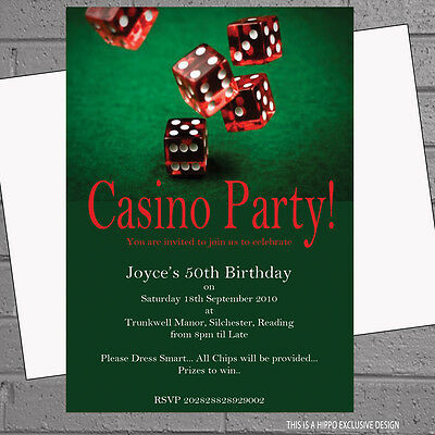 Casino Vegas Night Themed Rolling Dice Birthday Party Invites x 12 +Envs H1121 - Casino Invites