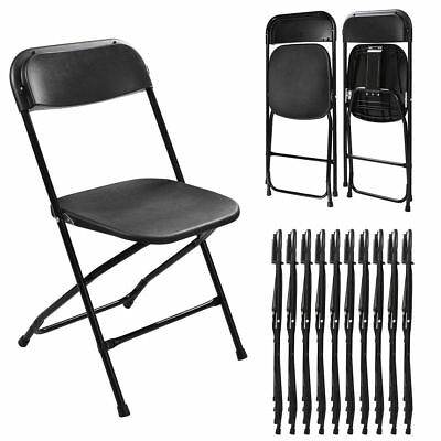 Black Set of 10 Plastic Folding Chairs Stackable Wedding Party Event Commercial