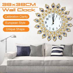 15 Luxury Large Iron Metal Art Gold Quartz Wall Clock Hanging Modern Home ☆.