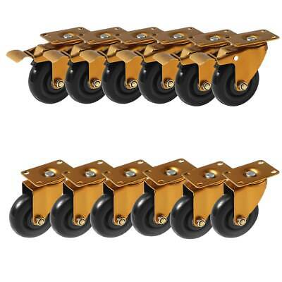 12 Pack 4 Combo Heavy Duty Swivel Plate Antique Polyurethane Caster Wheels