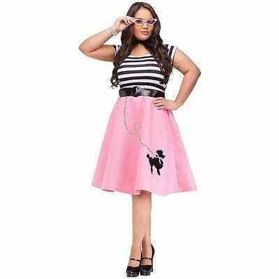 Plus Size 50's Costume (Poodle Skirt Adult 50s 50's Car Hop Soda Pink Costume Dress - XL Plus Size)