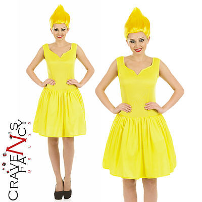 Ladies Yellow Pixie Costume & Wig Troll Fancy Dress Outfit Fairytale Womens New