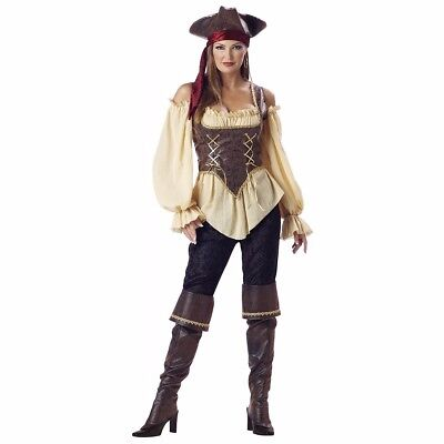 Rustic Pirate Lady Costume Deluxe Womens Female Buccaneer - Size Large -](Pirate Costumes Female)