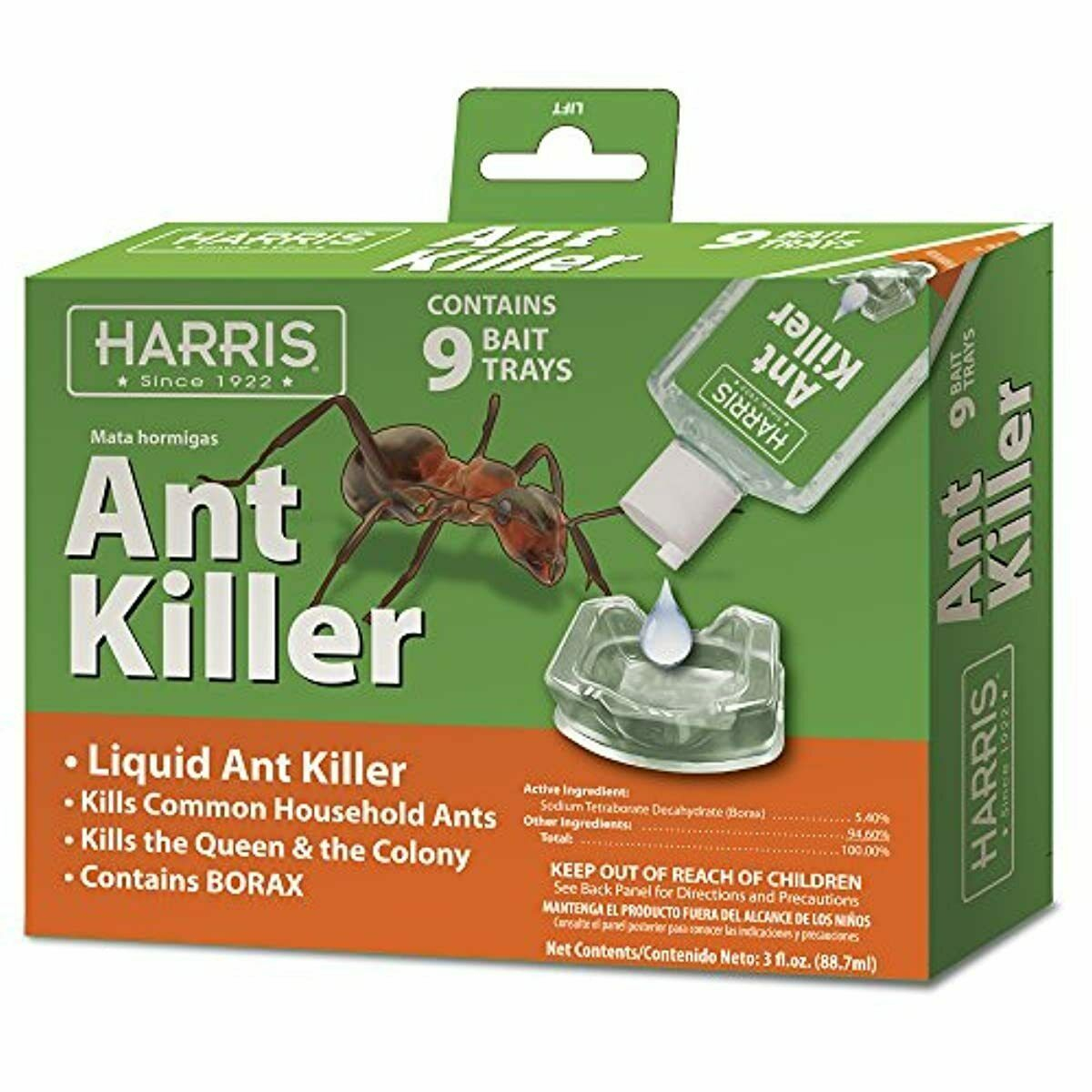HARRIS Ant Killer 3oz Liquid Borax Value Pack Includes 9 Bai