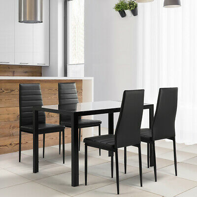 Black Glass Dining Table Set Kitchen Faux Leather Chairs Table 5 Pieces Kit Us
