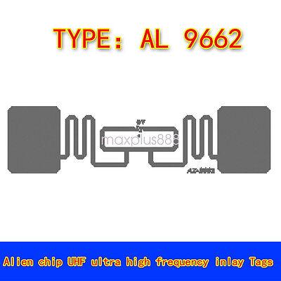 50pcs RFID UHF 6C 915Mhz Adhesive Wet Inlay Tag Label Alien 9662 3''x1''