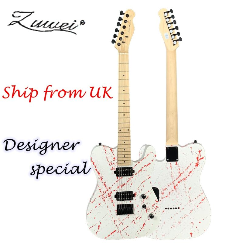 Solid Body Electric Guitar Prototype Blood Splatter H-H Pickups White Color