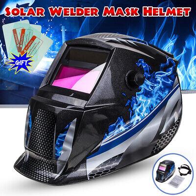 Solar Auto Darkening Welding Helmet Arc Tig Mig Grinding Welder Hood Blue Flame