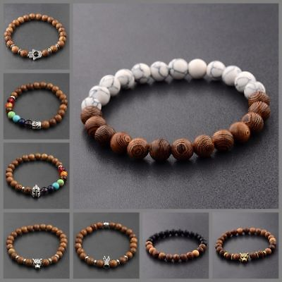 8MM Wooden Beaded Crown Buddha Lion Beaded Bracelet Jewelry Stretch Bangle New - Wooden Bangles
