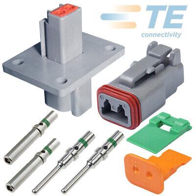 Deutsch 2-pin Flange Solid Terminals Connector Kit 14-16-18 Awg Pins Seals