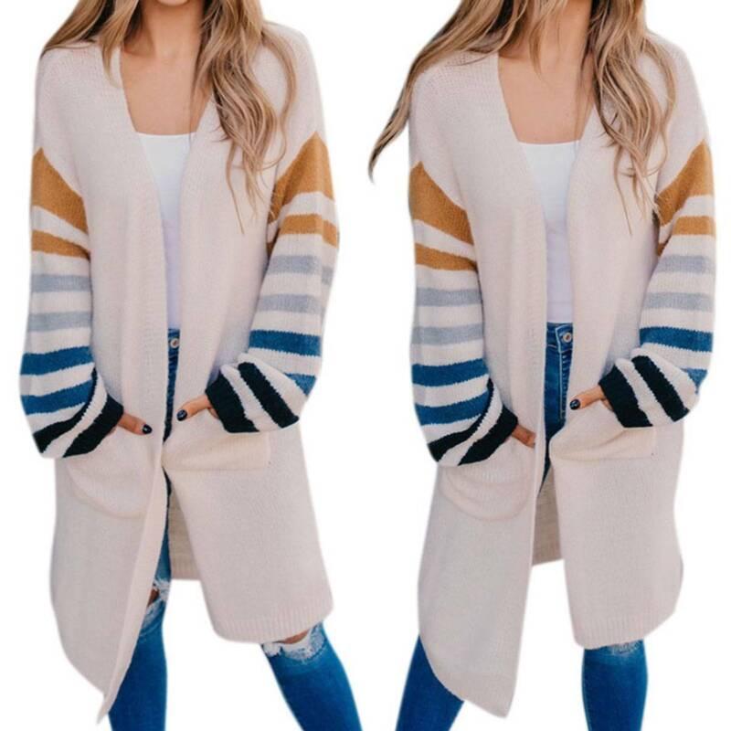 US Women Long Striped Knit Cardigans Loose Casual Sweater Ju