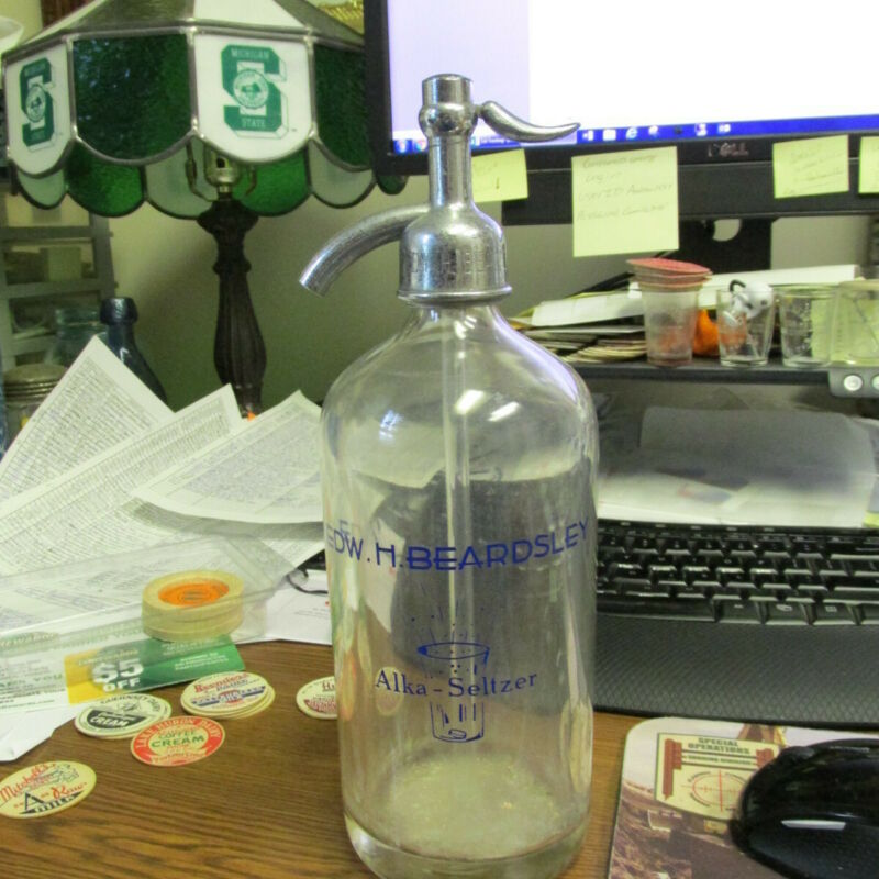 Elkhart, IND Alka-Seltzer Edw. H. Beardsley Seltzer Water Bottle w/ matching top