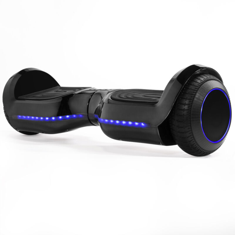 Electric Hoverboard Self-Balancing SGS Certified Bluetooth with Led Light Black