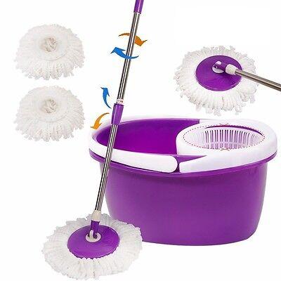 Easy Magic Floor Mop 360° Bucket 2 Heads Microfiber Spin Spinning Rotating Head