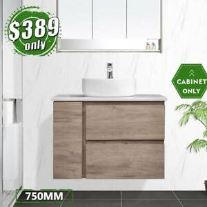 750mm Wall Hung Cabinet Bathroom Vanity Finger Pull Albany *NEW*