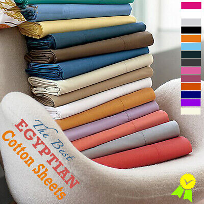 New 100% Egyptian Cotton Fitted Sheets 200TC Single 4Ft Double King Super King