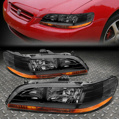 FOR 98-02 HONDA ACCORD BLACK HOUSING AMBER CORNER HEADLIGHT REPLACEMENT LAMPS