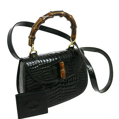 Authentic GUCCI Bamboo Line 2way Hand Bag Black Crocodile Skin GOOD G03161