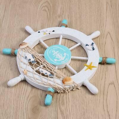 Decorative Anchors (US Beach Wooden Boat Ship Captain Steering Wheel Fishing Anchor Home Wall)
