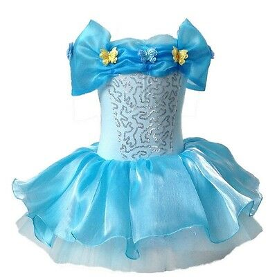 Cinderella Princess Ballet Lace Tutu Butterfly Blue Dance wear Party Dress 2-8