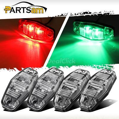 Green Led Side Marker Light (4pc LED Light Red / Green Universal Clearance Side Marker Trailer Clear Lens)
