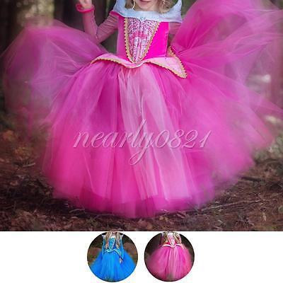 Girl Kid Gown Princess Sleeping Beauty Dress Up Xmas Halloween Costume Skirt New