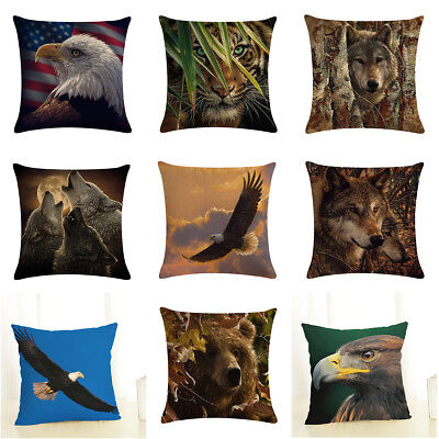 Lion Tiger Wolf Cushion Cover Sqaure Decorative Waist Sofa Throw pillow Covers
