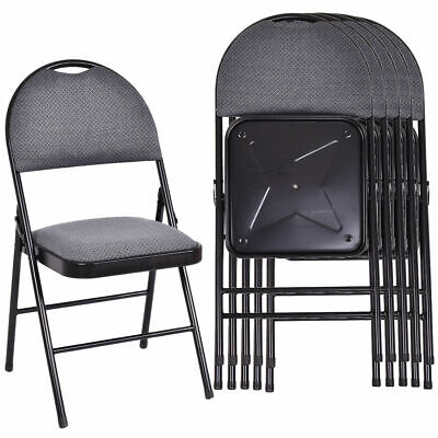 Set of 6 Folding Chairs Fabric Upholstered Padded Seat Metal Frame Home Office Metal Set Folding Chair