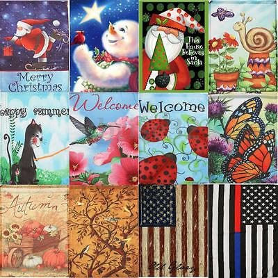 Merry Christmas Snowman Flower Welcome Spring Fall Garden Flag Banner Yard - Fall Yard Decorations