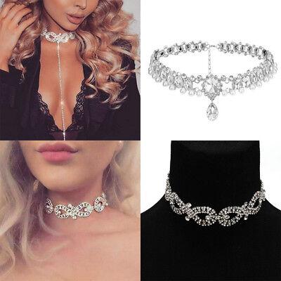 Wrap Silver Necklace Crystal Choker Diamond Bling Rhinestone Layer Drop Collar