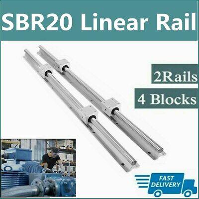 2x Sbr20 200mm-2200mm Linear Silde Rail Guide Shaft4x Sbr20uu Bearing Block Set